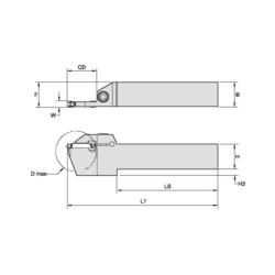 WIDIA 3655924 WMT™ Integral Tool Holder, Right Hand Cutting Direction, 4.175 in L Shank, 0.188 in Min Groove Width